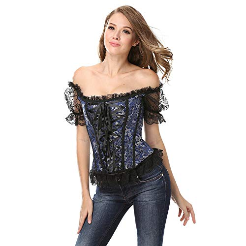 Corset Top Women Steampunk Gothic Jacquard Halloween Costume Womens Lolita Blouse Back and Front Lace Up Short Sleeve Princess Renaissance Floral Ruched Sleeves Elegant 4 -