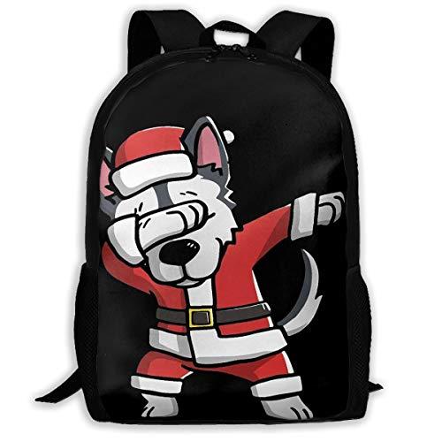 Laptop Backpack Dabbing Siberian Husky Zipper College Bookbag Daypack Travel Rucksack Gym Bag For Man Women