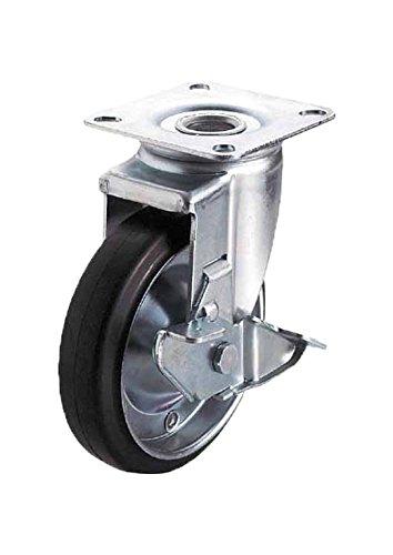ユーエイキャスター:J2シリーズ J2-S型 自在キャスター ストッパー付 ゴム(鋼板ホイル,B入)車 車輪径φ150 メーカー型式:WJ2-150S