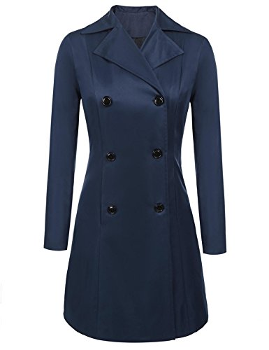 Showyoo Women's Long Sleeves Attractive Double-Breasted Trench Coat Blue XL