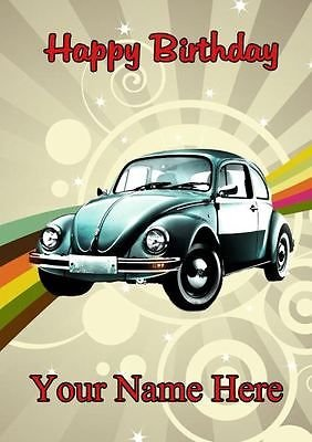 A5 Personalised VW Beetle Car Birthday Card Any Name And Age
