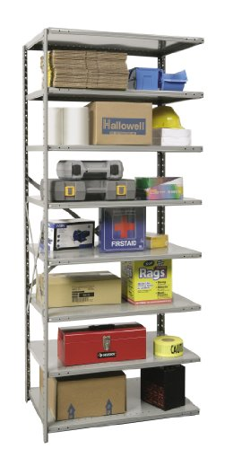 - Hallowell A5713-18HG Heavy-Duty Open Hi-Tech Shelving Add-On Unit with 8 Shelves, Hallowell Gray Steel, 48