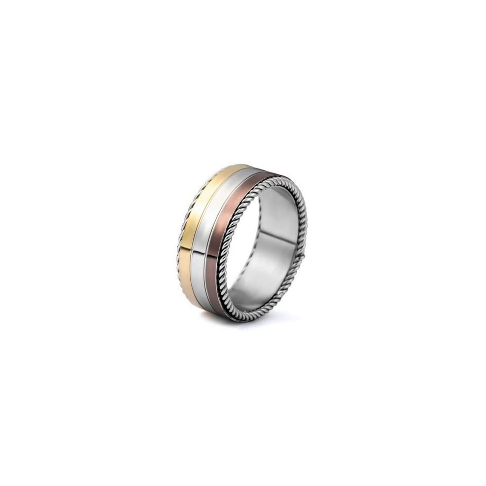 Justeel Jewelry Stainless Steel Ring Band Men Silver Gold Brown Stripe Size 10