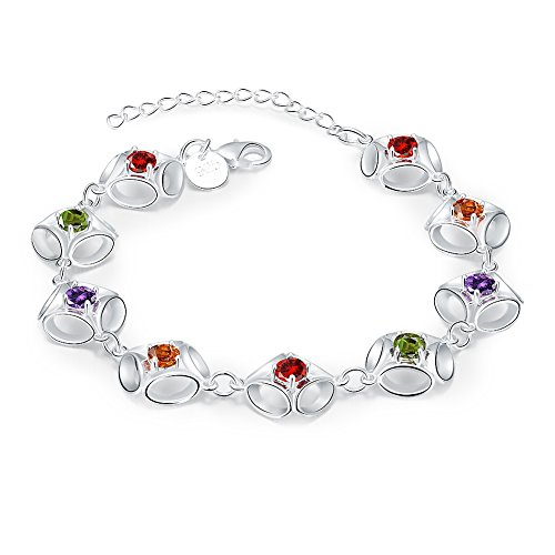 Replica Coin Cameo (iCAREu Silver Plated Charm Adjustable Personalised Bracelet with Shining and Colourful Zricons)