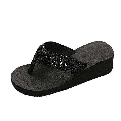 YANG-YI Clearance Women Sequins Bling Anti-Slip Sandals Slipper Flip-Flops (Black, US-7.5) from YANG-YI Sandals