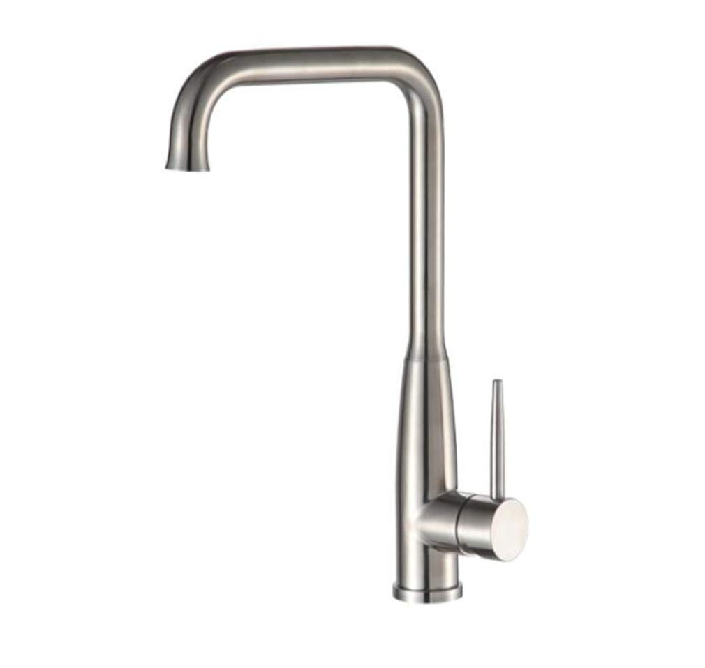 Bathroom Sink Basin Lever Mixer Tap 304 Stainless Steel Lead-Free Kitchen Cold and Hot Seven-Shaped Bend Faucet
