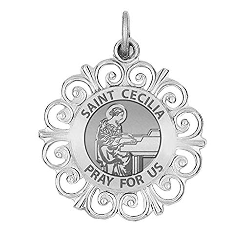 PicturesOnGold.com Saint Cecilia Round Filigree Religious Medal - 1 Inch Size of a Quarter in Sterling Silver