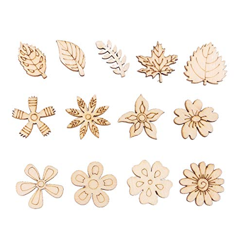 Amosfun 200PCS DIY Doodle Educational Toy Flower Leaves Natural Wooden Slice Scrapbooking Embellishments DIY Craft Decor - Random Pattern (Burlywood)]()