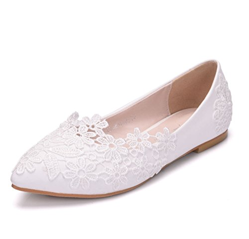 Flowers Flats Party Toe White Formal Satin Minishion Wedding flat Womens Pointed Evening Lace vnqEC