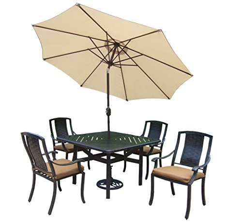 Oakland Living Vanguard 5-Piece Furniture Set with 48 by 48-Inch Square Table, 4 Sunbrella Cushioned Stackable Chairs, 9-Feet Tilt and Crank Beige Umbrella and Stand