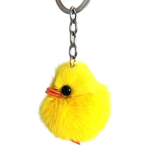 - Fur Keychain pom pom Mink Duck Chick Bag Charm Car Pendant Cute Toy Keyring (Yellow)