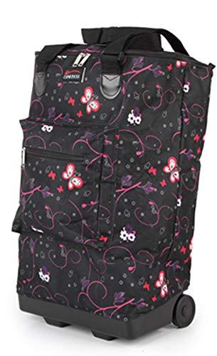 Chariot de courses pliable l/éger sur roulettes 55 x 35 x 20 cm Carry-on Butterflies Black