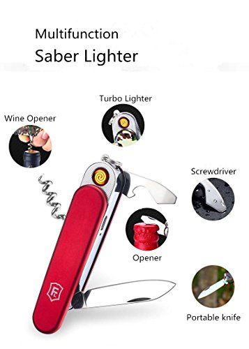 Multifunction Lighter - Aibote 5 In 1 Multifunction Saber Knife Rechargeable Windproof Flameless USB Electronic Cigarette Lighter Wine Opener Screwdrive Outdoor Camping Tool (Red)