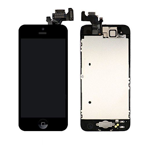Nroech for iPhone 5 Screen Replacement Black,Full Assembly with Home Button and Camera, i5 3D Touch Digitizer Complete Display Retina Touch Screen with Free Repair Tool Kits + Screen Protector (Iphone 5 Screen Replacement Only)