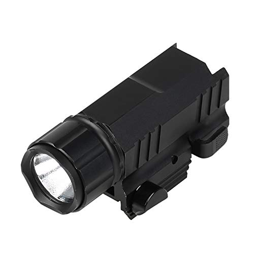 GOHIKING Tactical LED Handgun Light 200 Lumens Strong Quick Flicker Picatinny/Weaver Rail Flashlight w/Sliding on/Off Switch