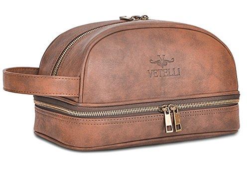 Vetelli Leather Mens Toiletry Bag Dopp Kit & Travel Bottles Deal (Large Image)