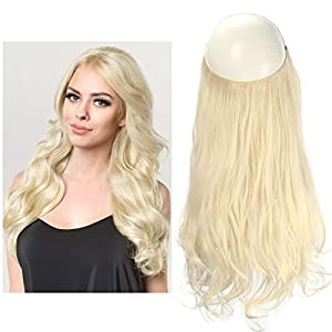 SARLA 12″ Wavy Synthetic Short Halo Secret Hair Extensions Ash Blonde Balayage Natural Hairpieces No Clip No Glue No Tape 3.5oz M05&16H613