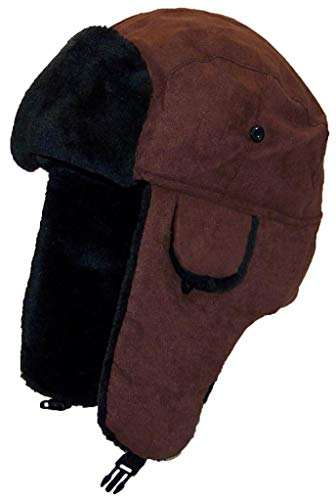 Best Winter Hats Adult Russian/Aviator Faux Suede Leather w/Faux Fur(One Size) - Brown
