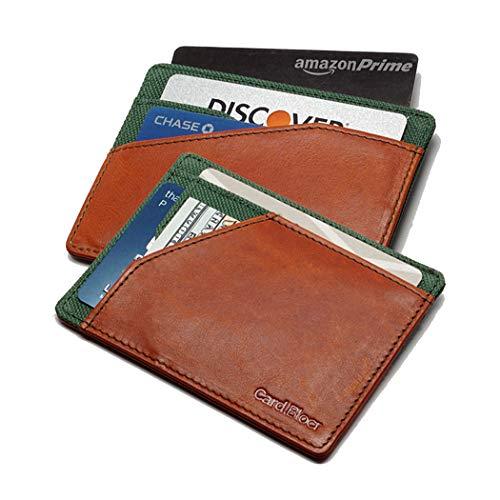 Best Front Pocket Wallet 2019   Card Blocr Minimalist Wallet Slim RFID Blocking   Distressed Brown Leather & Green Nylon