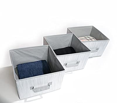 Adorn Home Essentilas| Foldable Closet Fabric Drawers| Fits as Drawers for any Adorn 6 Tier Closet Organizer| Set of 3 Baskets, for Clothing, Accessories, Shoes and Home Essentials