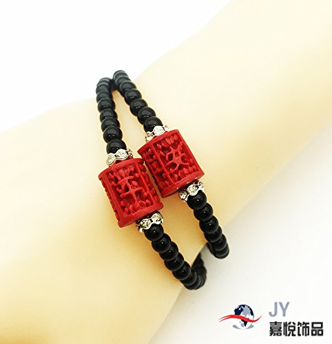 Cinnabar lacquer carving double ring diamond bracelet jewelry ethnic classical features gift Pinganshifu bracelets female factory