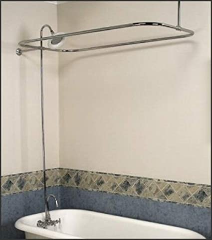 Satin Nickel Add On Shower Set For Clawfoot Tub Gooseneck Faucet