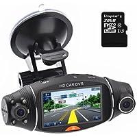 Car Dvr 1080P 2.7 LCD Screen Rotating Dual Len Vehicle DVR Road Dash Cam Video Camera Recorder Traffic Dashboard Recorder with 32GB Kingston Class10 TF Card