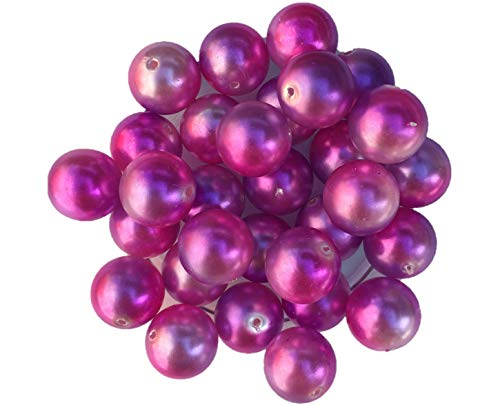 20mm Ombre Multi-Color 30 Count Chunky Bubble Gum Acrylic Faux Pearl Beads Bulk Wholesale Pack Necklace Kit (Pink & Purple Ombre) ()