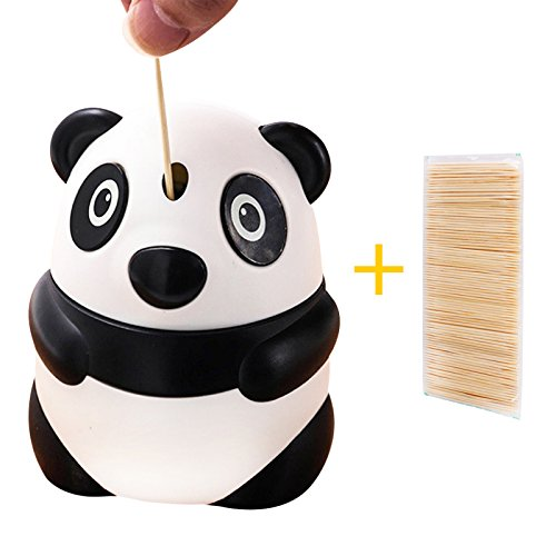 Himerus Automatic Toothpick Box, Portable Telescopic Toothpick Box,Hand Pressure Type Plastic Toothpick Tank,Creative Personality Panda Toothpick Holder,Be Used For Gift For Home Office And Restaurant
