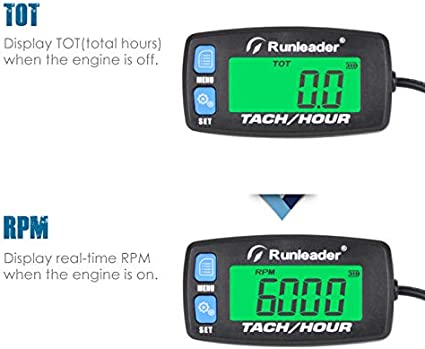 Button-BU Runleader Digitaler Motorstundenz/ähler,Wartungserinnerung Drehzahlmesser f/ür Aufsitzrasenm/äher Traktor Generator Marine ATV Motorrad Schneemobil Kompressor und gasbetriebene Ausr/üstung