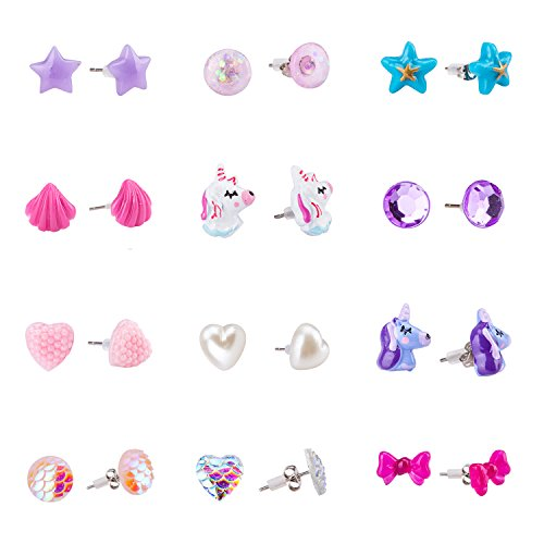 - SkyWiseWin Earrings for Girls, Hypoallergenic Children's Gift Choice Cute Shapes and Colors Earrings, Set Kids's Stud Earrings