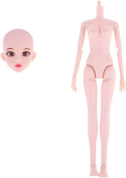 1//6 Pink Skin Tone Large Bust Girl Ball-Jointed Body /& Boy Nude Doll Body