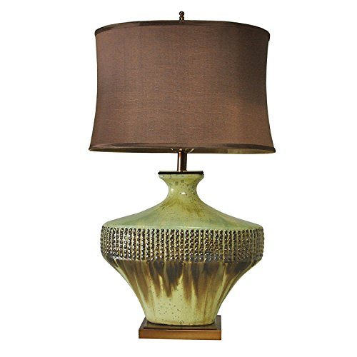 Rusty and Bronze Sagging Ceramic with Oval Shade and Rectangular Deep Gold Base Table Lamp (Large Size) - Bedroom Bedside Lamp - Desk Lamp - Living Room Lamp - Dorm Room Lamp(Green & Bronze) Ceramic Shade