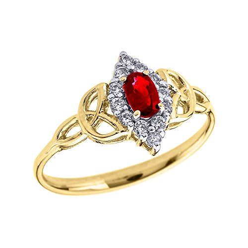 Oval Ruby and Diamond 14k Yellow Gold Trinity Knot Proposal Ring(Size 6) ()