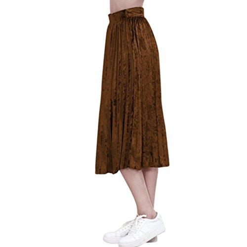 de Femme Vintage jupe longue Jupe mi velvet hiver plisse couture Kolylong cocktail Caf sans 2017 Jupe Pq8RtwnxdR