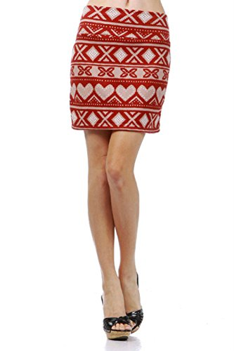 - Skirt Sexy Red Soft Knit Heart Cross Stitch Pattern Holiday Mini S (Small, Red)
