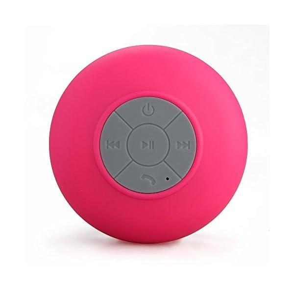 Memteq - Enceinte haut-parleur étanche Bluetooth, à ventouse, pour téléphone portable fuchsia 2