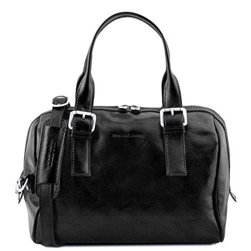 Handbag Black Tuscany Brown Fur Hand Eveline Leather qw7784T