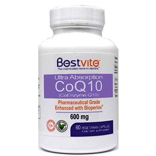 Coenzyme CoQ10 600mg with Bioperine (60 Vegetarian Capsules) Naturally Fermented - No Fillers - No Stearates by Bestvite