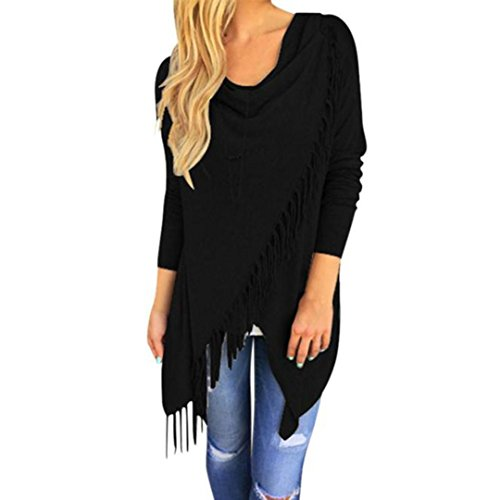 Women Long Sleeve Blouse Tassel SanCanSn Hem Crew Neck Knited Cardigan Blouse Tops Shirt (Black,S) (Sweater 80s Wool)