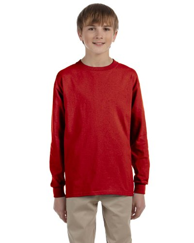 Red Youth Heavyweight T-shirt - Jerzees Youth Heavyweight Blend Long-Sleeve T-Shirt, Medium, TRUE RED