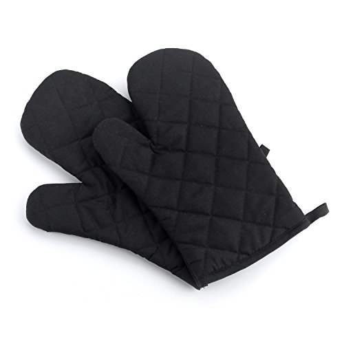 MiCoolker 1 Pair Cute Grid Oven Mitt Cooking Mitts Pot Holder Potholder Heat Resistant Mitt Insulated Glove Black (Oven Mitts For Small Hands compare prices)