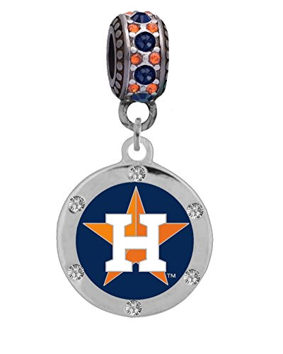 Final Touch Gifts Houston Astros Crystal Charm Fits Most Bracelet Lines Including Pandora, Chamilia, Troll, Biagi, Zable, Kera, Personality, Reflections, Silverado and More