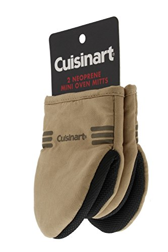 Tan Mitt Oven - Cuisinart Mini Oven Mitts w/Neoprene for Easy Gripping, Heat Resistant up to 500 degrees F, Tan - 2pk