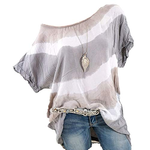 - Striped T-Shirts for Womens Casual Crewneck Short Sleeve Tunic Tops Blouses Shirts Plus Size S-5XL Gray