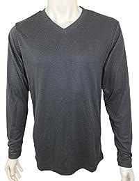 Men's Size XXL V-Neck Pullover Long Sleeve Shirt Graphite