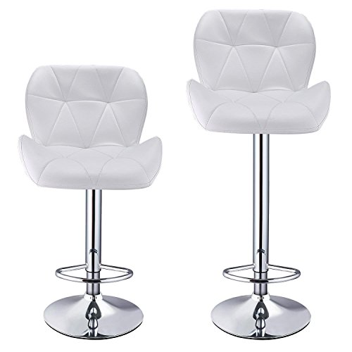 Leoneva Bar Chairs Set of 2 Contemporary Leather Swivel Adjustable Height Breakfast Bar Stool with Backs for Kitchen Island, White (US Stock) (Breakfast Bar Furniture Sets)