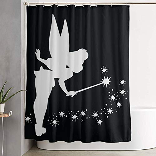 LETEPRO 60 X 72 Inch Tinkerbell Platinum Shower Curtain Set, Special Custom Bath Curtain