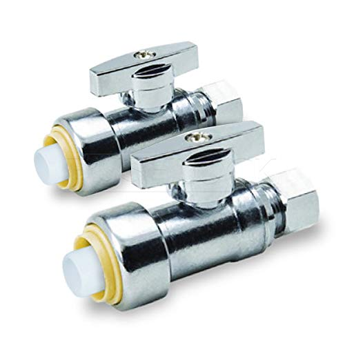 Pushlock UPSSC1214-2 1/4 Turn Straight Stop Valve Water Shut Off 1/2 Push x 1/4 Inch Compression, Chrome