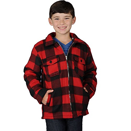 Boys Zip Up Flannel Heavy Sherpa Lined Fleece Sweater for Kids (X-Large, Red)